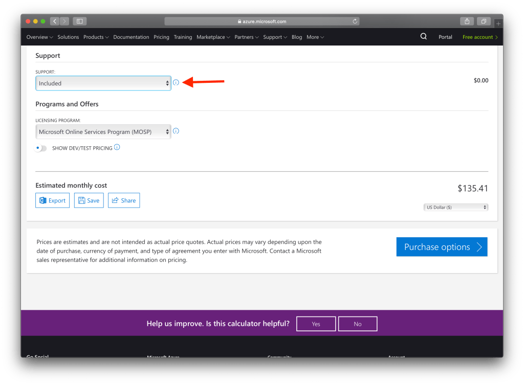 How To Use Microsoft Azure Pricing Calculator : Include the support for pricing