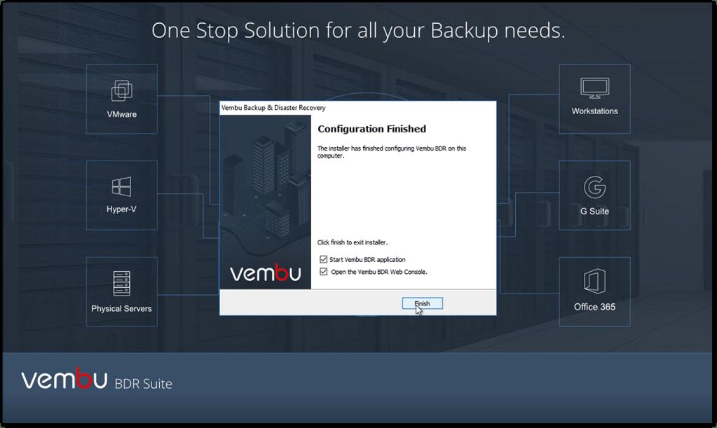 Vembu BDR v4 : Complete the installation