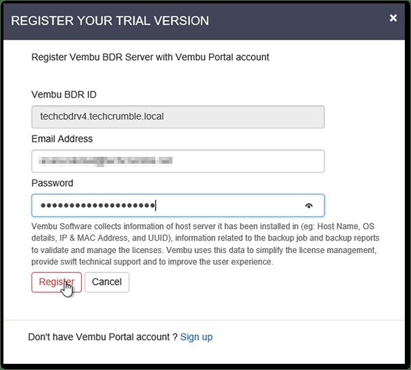 Vembu BDR v4 : Register in Portal