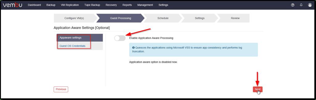 Vembu BDR v4 : Application Aware Processing
