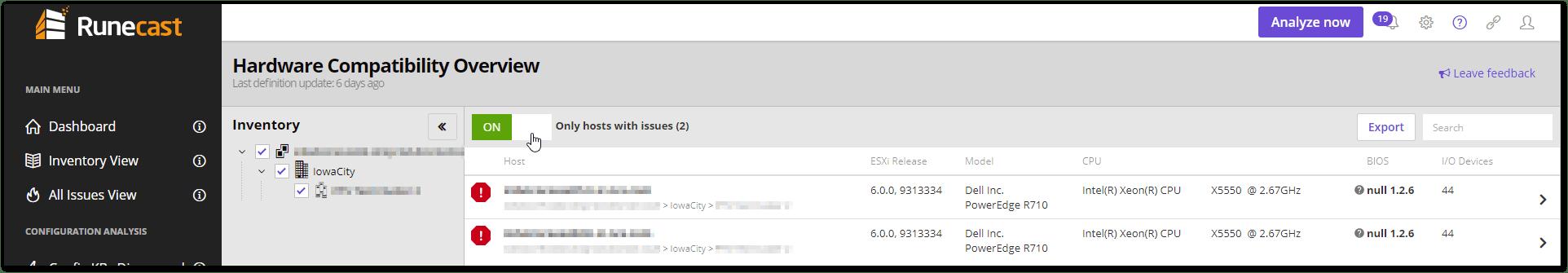 Runecast Analyzer Added VMware HCL Support (beta)