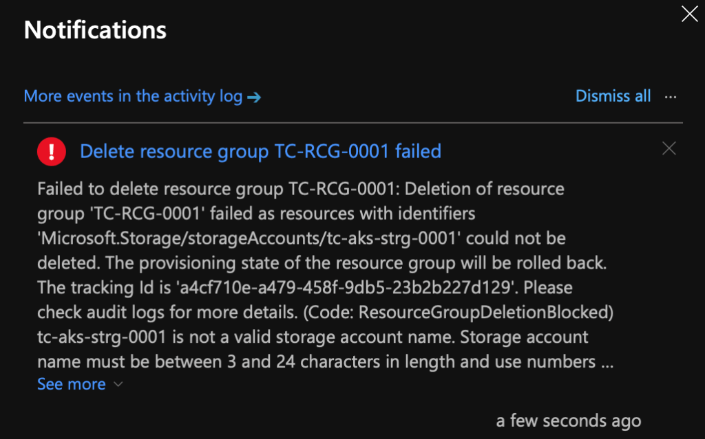 Delete An Azure Resource Group : Error