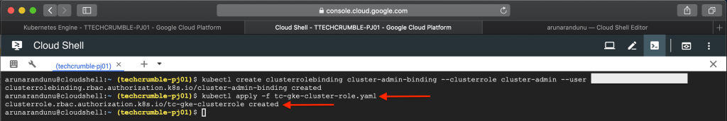 Kubernetes Engine POD Security Policies : apply cluster role