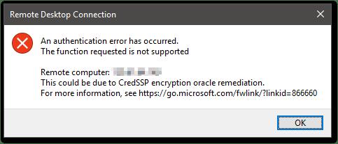 CredSSP Encryption Oracle Remediation error