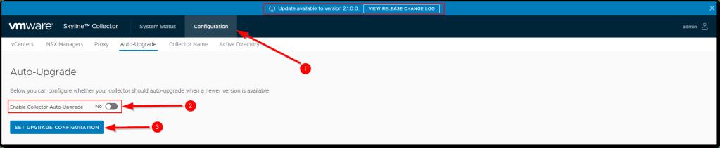 VMware Skyline V2.1: Set Auto-Upgrade
