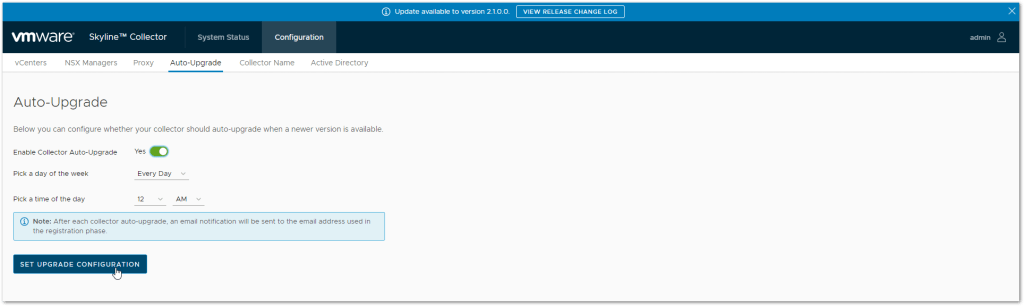 VMware Skyline V2.1: Schedule update time