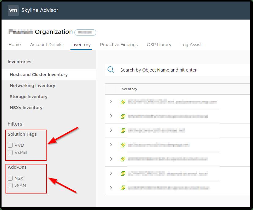 VMware Skyline V2.1 : Inventory Filters
