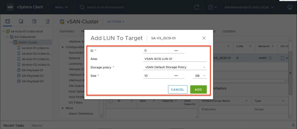 Add LUN VMware vSAN iSCSI Target Service