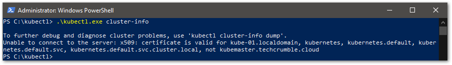 install kubectl on Windows cluster cert error