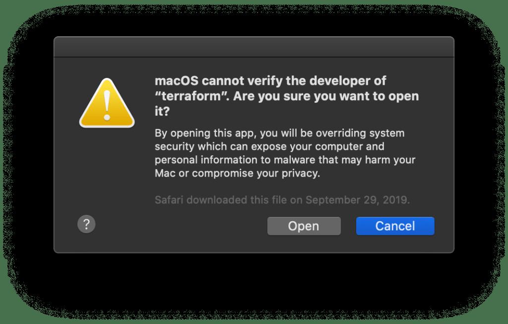 Terraform After macOS Catalina Update manual open