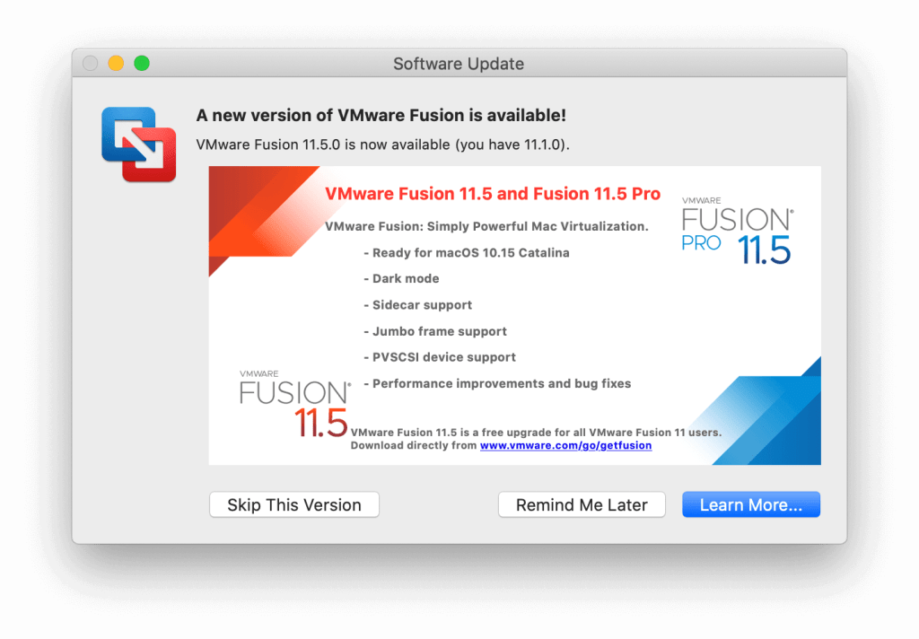 VMware Fusion Virtual Machine Black Screen upgrade available