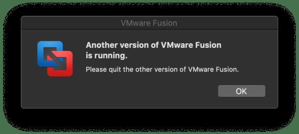 VMware Fusion Virtual Machine Black Screen close running apps