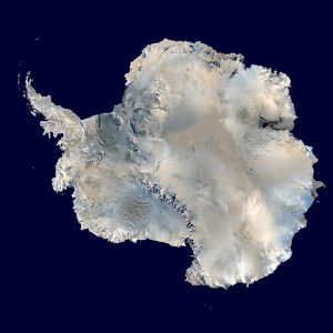 A composite satellite view of Antarctica