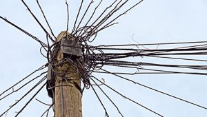 A pole full of wires