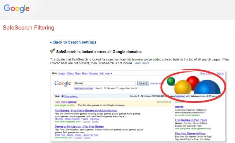 Google safe search screenshot