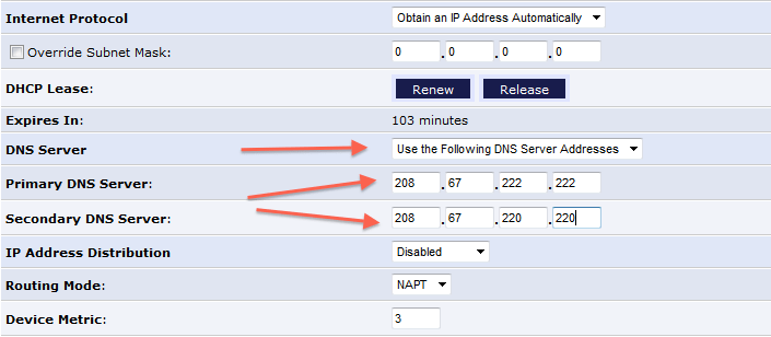 open dns router settings screenshot