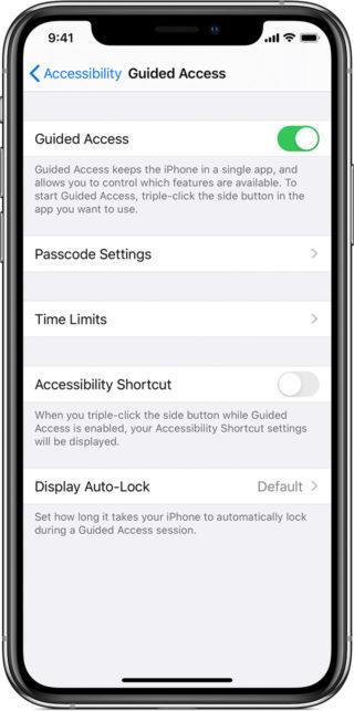 guided access settings screenshot