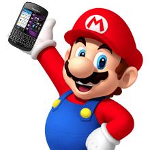 Mario holding a Blackberry Q10