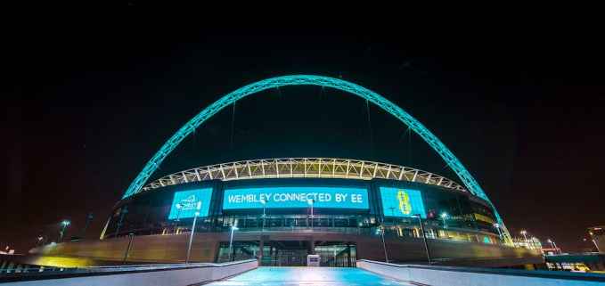 The iconic arch at Wembley Stadium given a digital make-over, London, Britain -