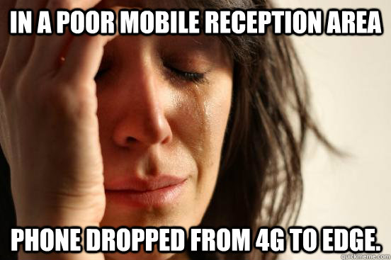 In a poor mobile phone area