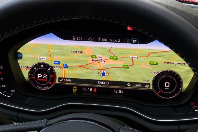 The massive satellite nav display sits inside of the steering wheel