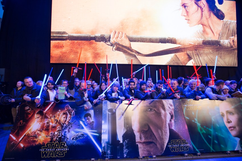 LONDON, UK - DECEMBER 16: Fans at the European Premiere of the highly anticipated Star Wars: The Force Awakens in London on December 16, 2015.