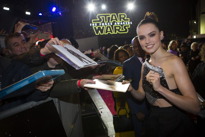 LONDON, UK - DECEMBER 16: Actress Daisy Ridley attends the European Premiere of the highly anticipated Star Wars: The Force Awakens in London on December 16, 2015.