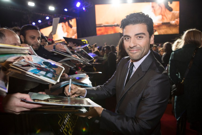 LONDON, UK - DECEMBER 16: Actor Oscar Isaac attend the European Premiere of the highly anticipated Star Wars: The Force Awakens in London on December 16, 2015.