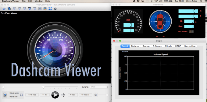 Using the Dashcam Viewer software you can analyse the footage, complete with map overlays and speed/GPS data
