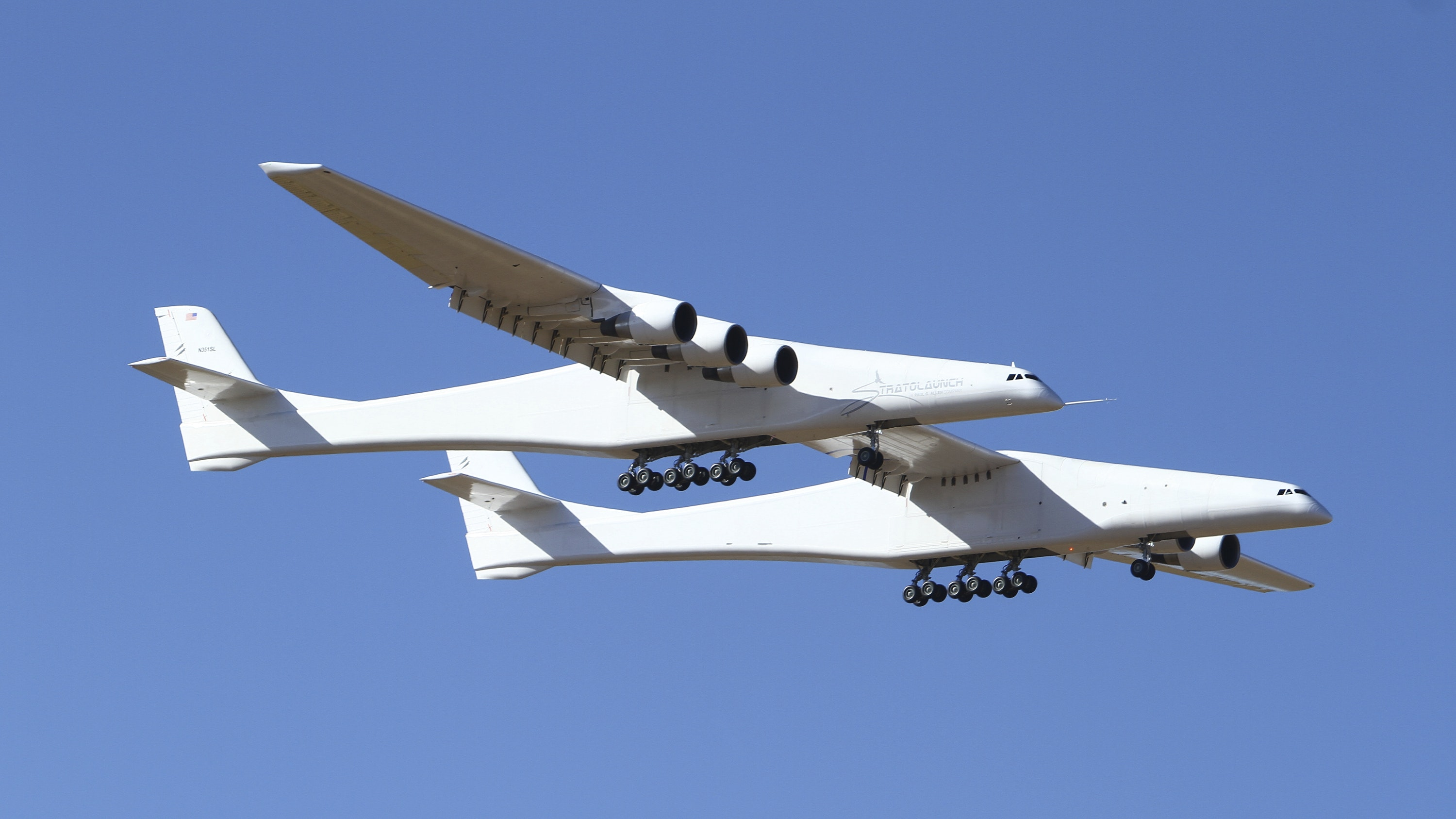 Largest plane flies over California desert