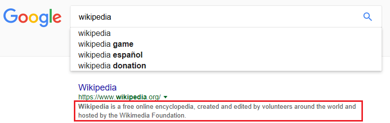 Meta description showing in google search page