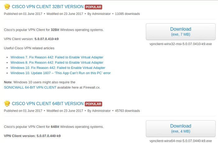 CISCO VPN CLIENT 32BIT VERSION