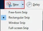 New' option of snipping tool