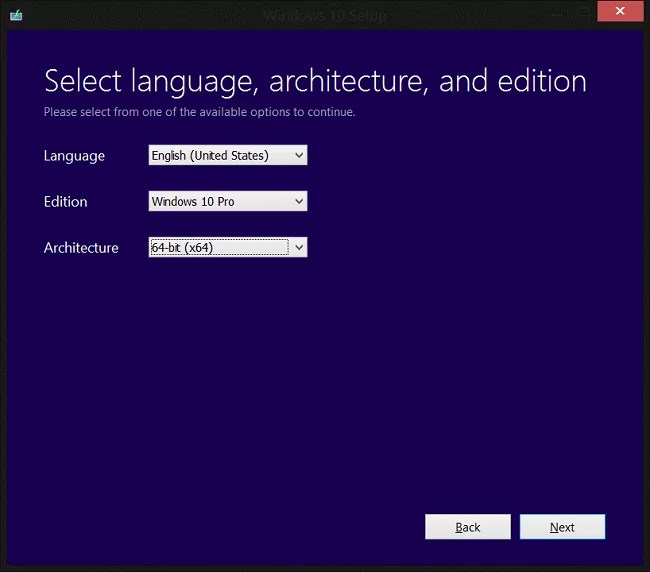 Select language, architecture and edition
