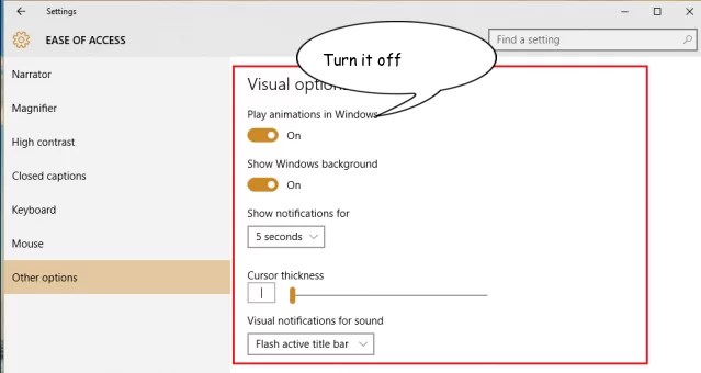 Turn the option 'Play animations in windows' off . You are done.
