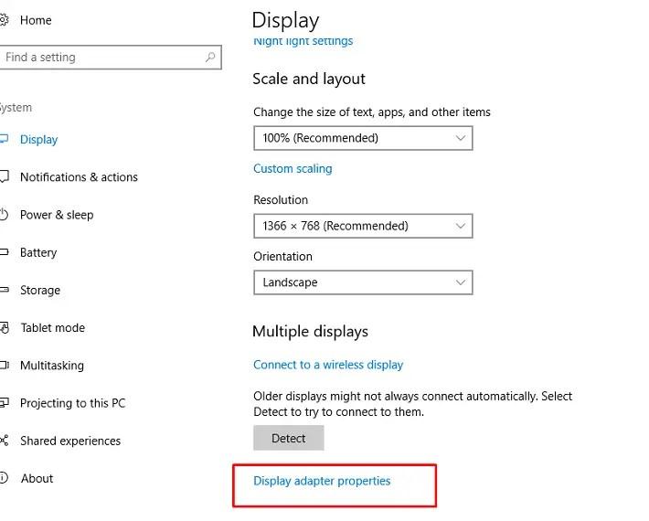 find display adapter properties