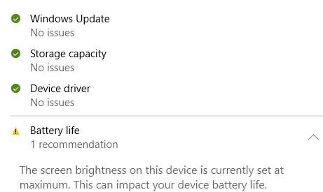 Device performance and heath of Windows 10