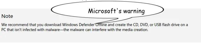 MS Warinig of Windows Defender