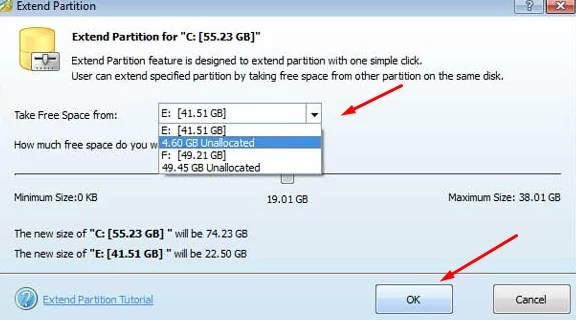 Extend or Extend Partition