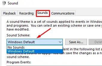 Sound Scheme of Windows 10