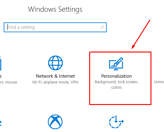 Personalization Setting of Windows 10