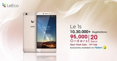 95,000 Le 1S Smartphones sold in 20 seconds in its second flash sale on Flipkart