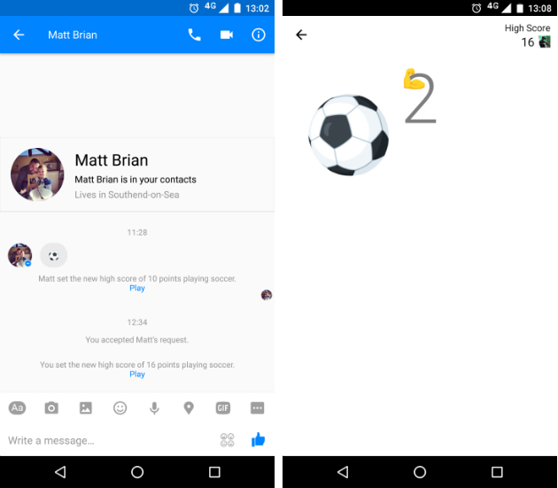 How to play football in facebook messenger
