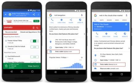 Google search food orders