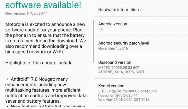 Android 7.0 Nougat update for Moto G4 and Moto G4 Plus