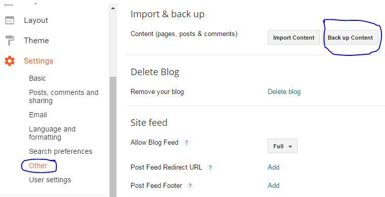 backup the posts in blogger