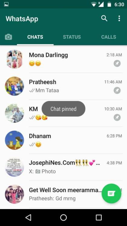 how to pin the chats in whatsapp