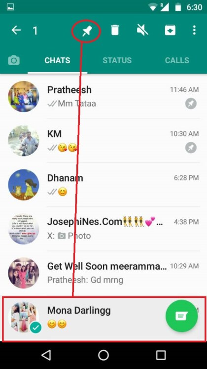 how to pin the chat in whatsapp