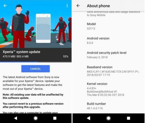 Sony Xperia A Series Android Oreo Update