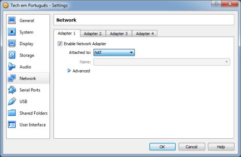 Configuração rede VM